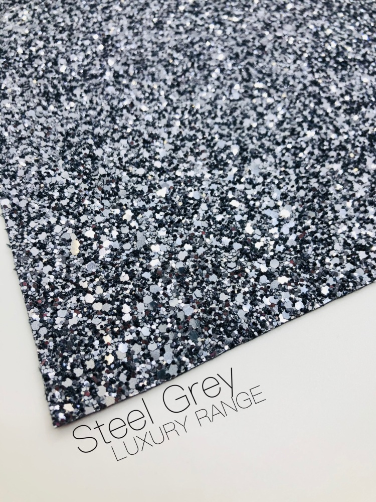 LUXURY -  Steel Grey chunky glitter fabric