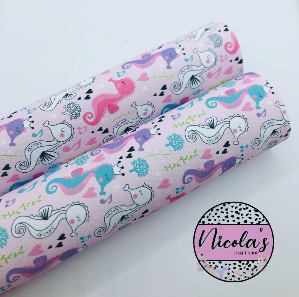 1457 - Pink under the sea seahorse print printed canvas sheet
