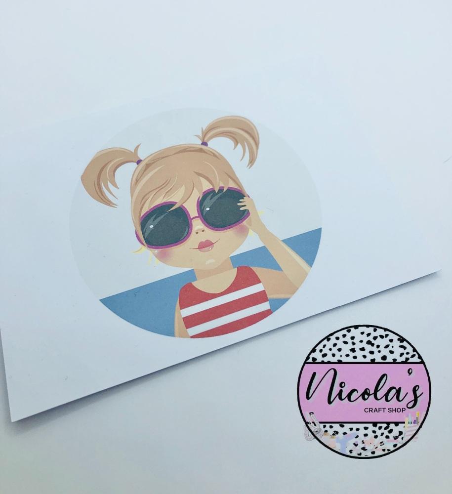 Sunglasses Girl printed bow cards (10pk)