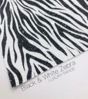 LUXURY -  Safari collection - Black & White Zebra chunky glitter fabric