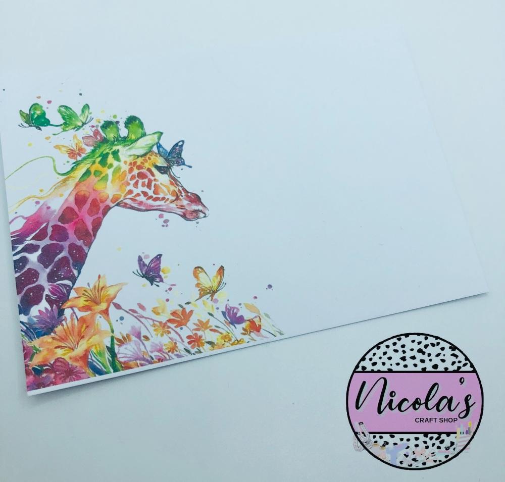 Rainbow Giraffe printed bow display cards