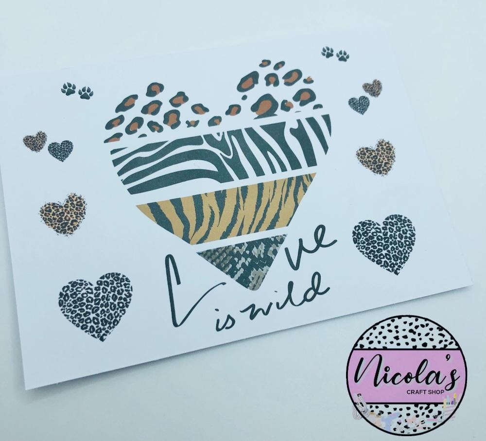 Love is Wild Safari Animal print printed bow display cards