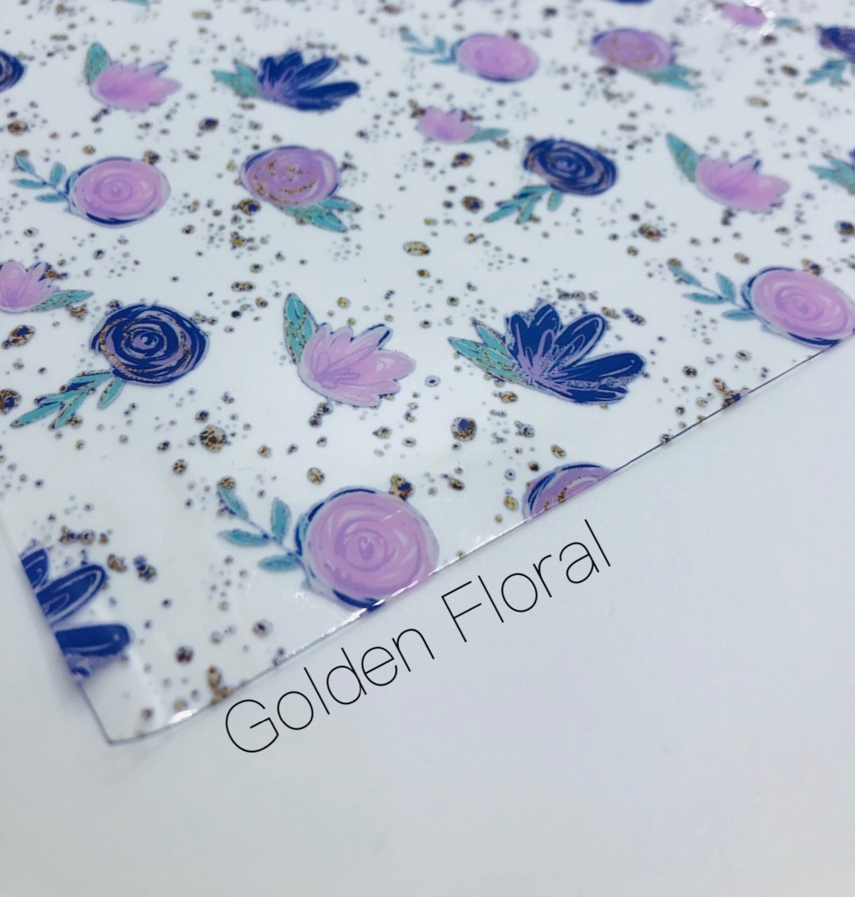 Golden Floral Transparent jelly fabric