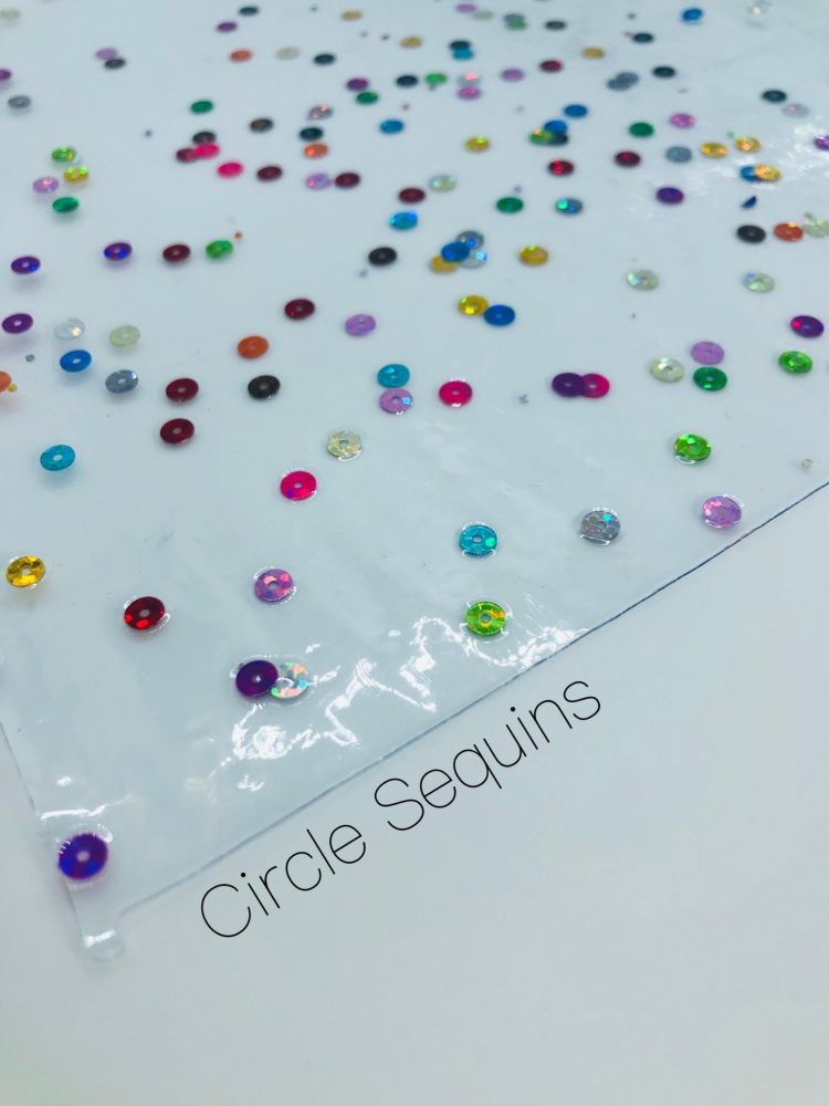 Circle Transparent clear water resistant sequin jelly fabric