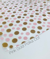 Pink Gold polka dot Printed transparent jelly fabric