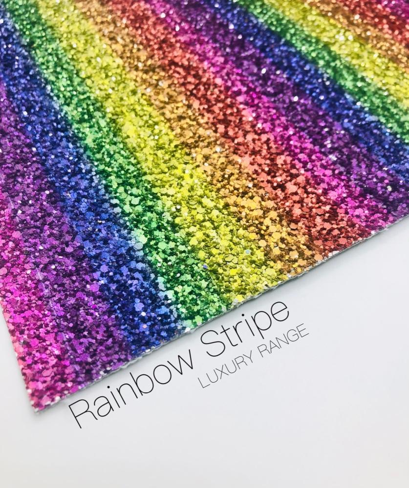 LUXURY -  Rainbow Stripe chunky glitter fabric