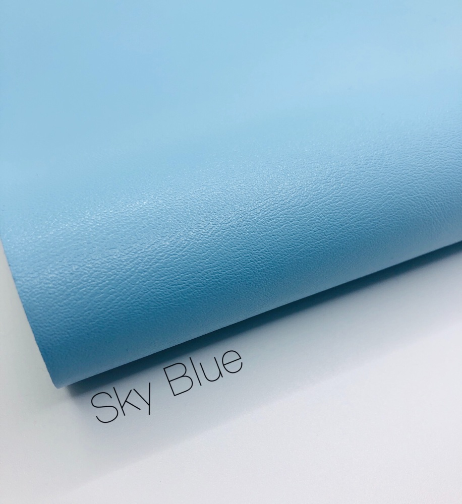 Smooth Plain sky blue synthetic leather
