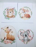 Jungle Animal Border Print Printed Bow Cards