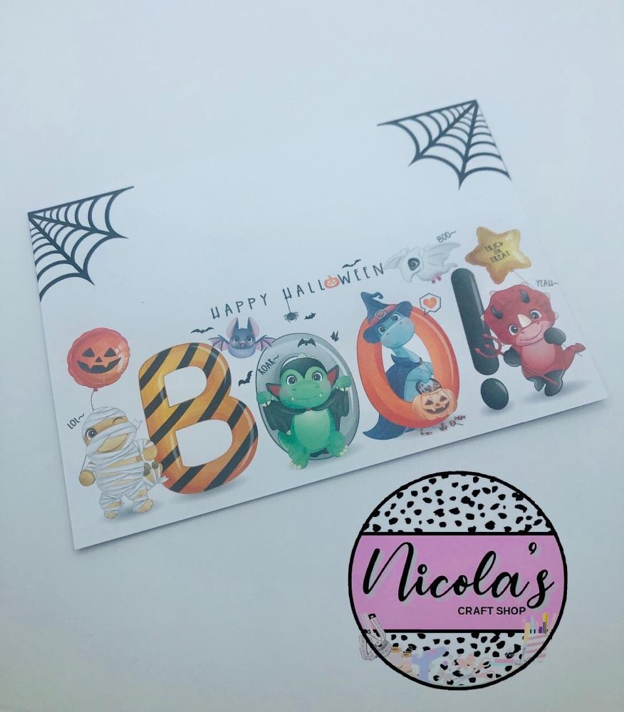 Boo! Dinosaur Range halloween printed bow display cards