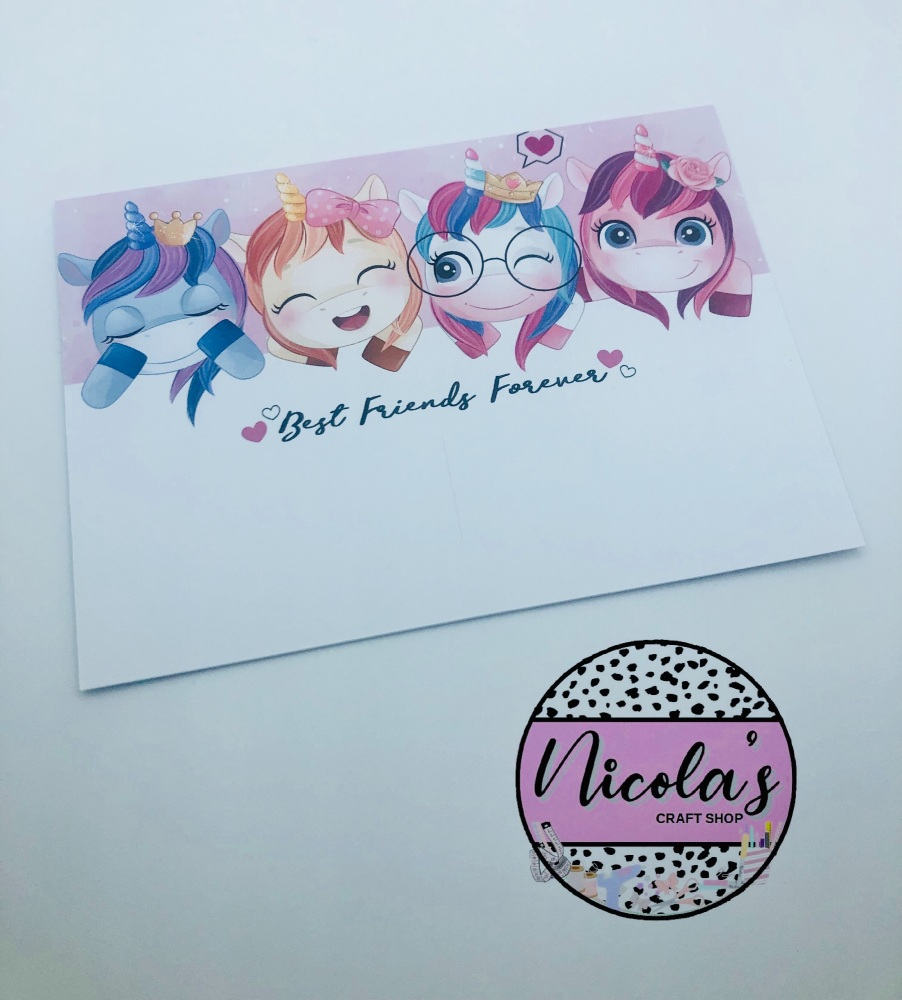 Best Friends Forever Cute Unicorn printed bow display cards