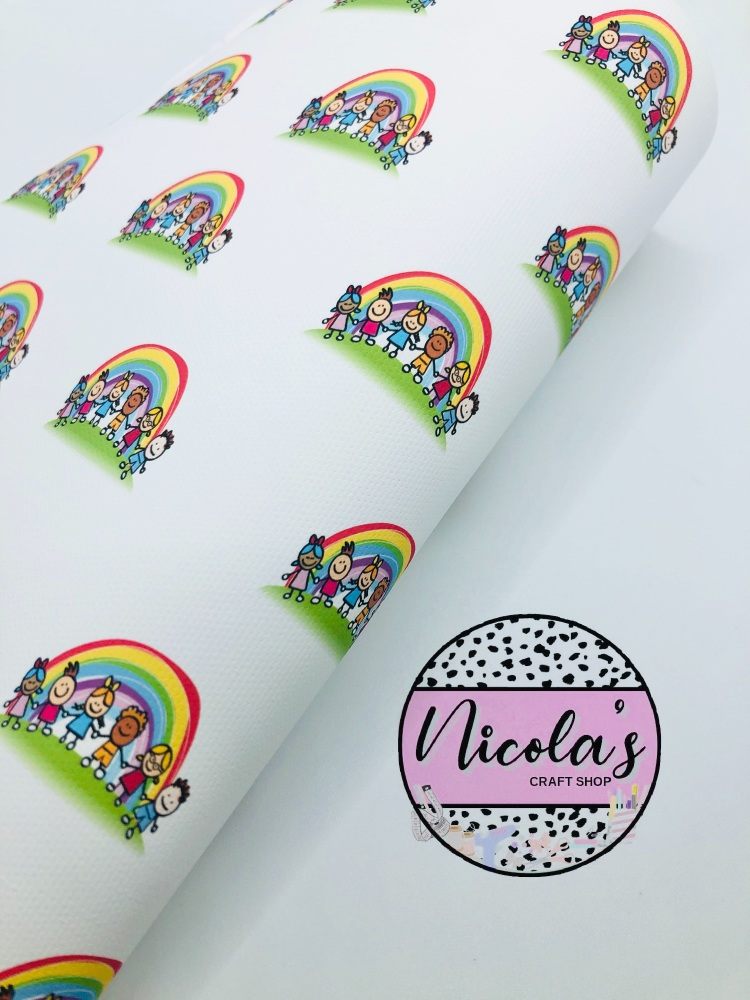 1527 - Children under the rainbow printed canvas sheet