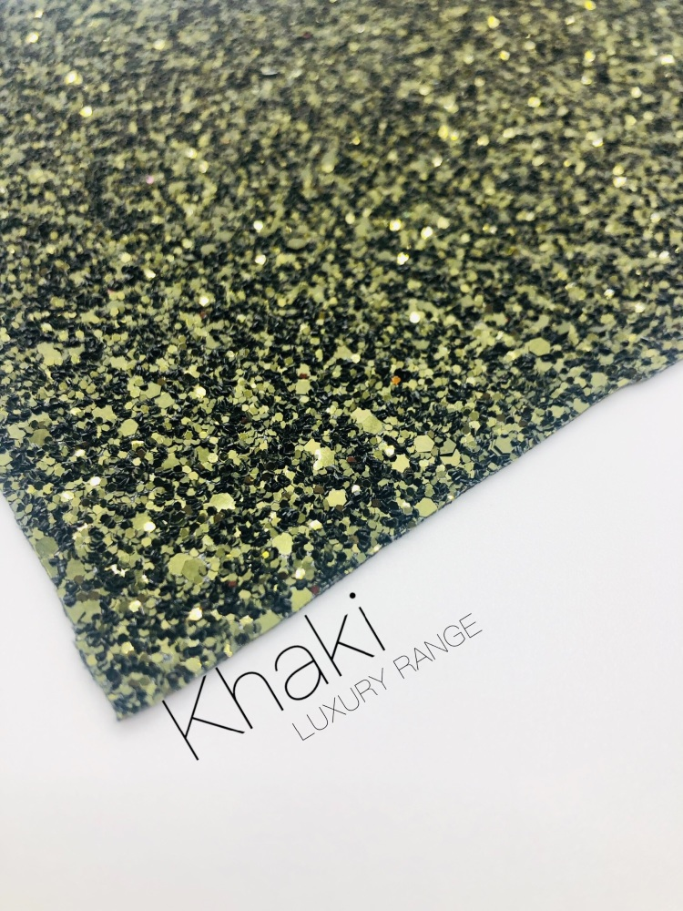 Luxury - Plain Khaki Chunky Glitter