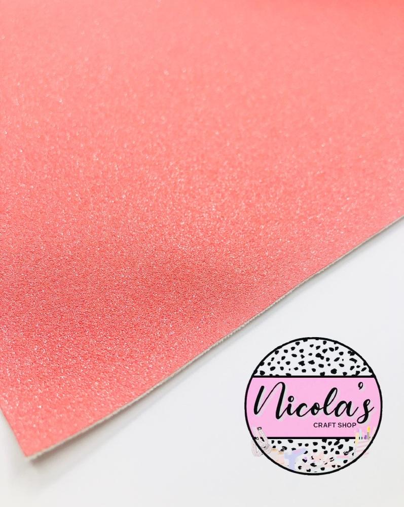 GLITTER SHIMMER VELVET - Coral fabric