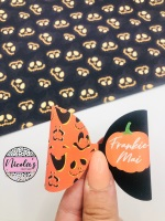 Pumpkin Halloween personalised pre cut bow loop
