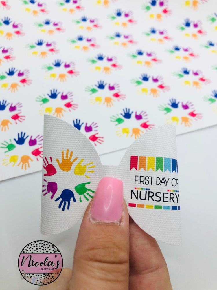 First Day of Nursery handprint pre cut bow loop