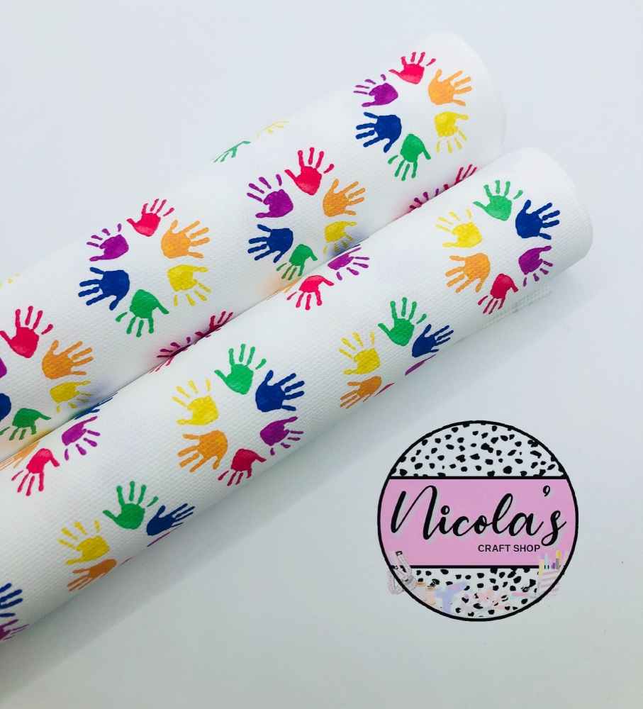 1543 - Rainbow Children's painted hands printed canvas fabric