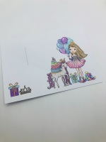 Cotton candy blonde hair balloon girl printed bow cards (pack of 10)