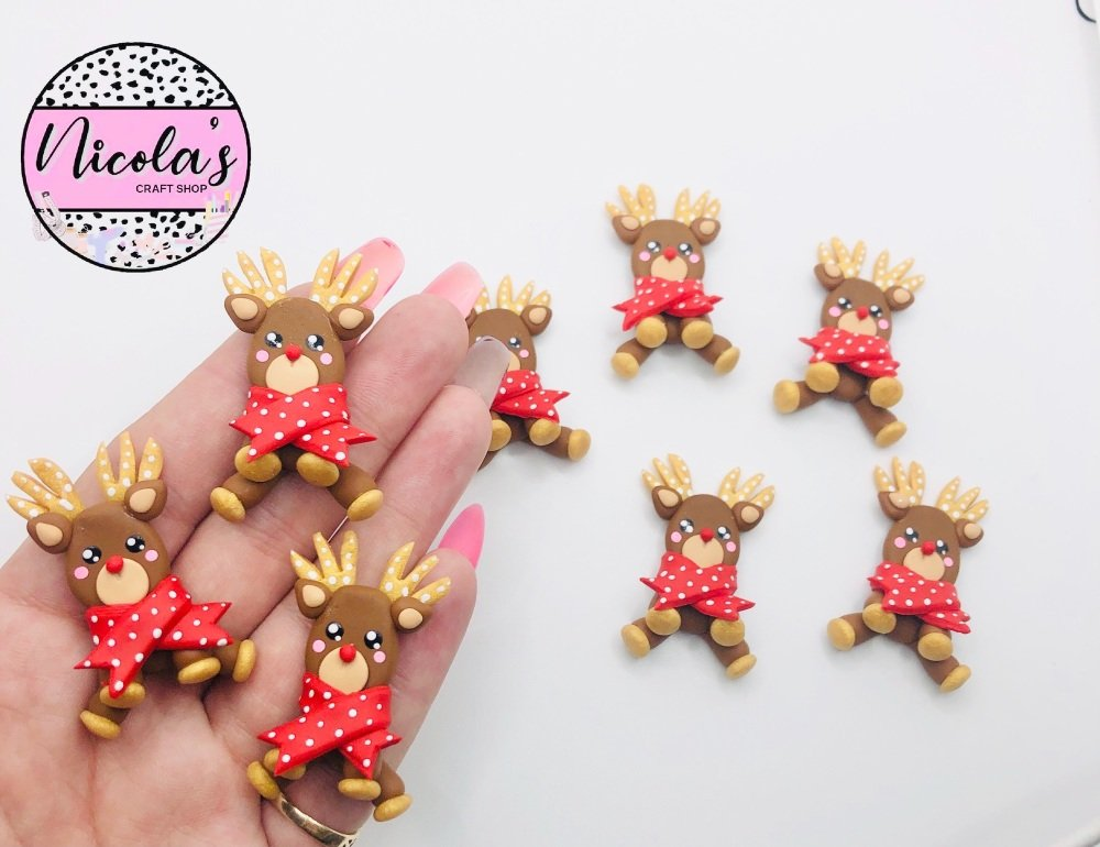 Christmas Red Nosed Reindeer scarf polymer clay full body