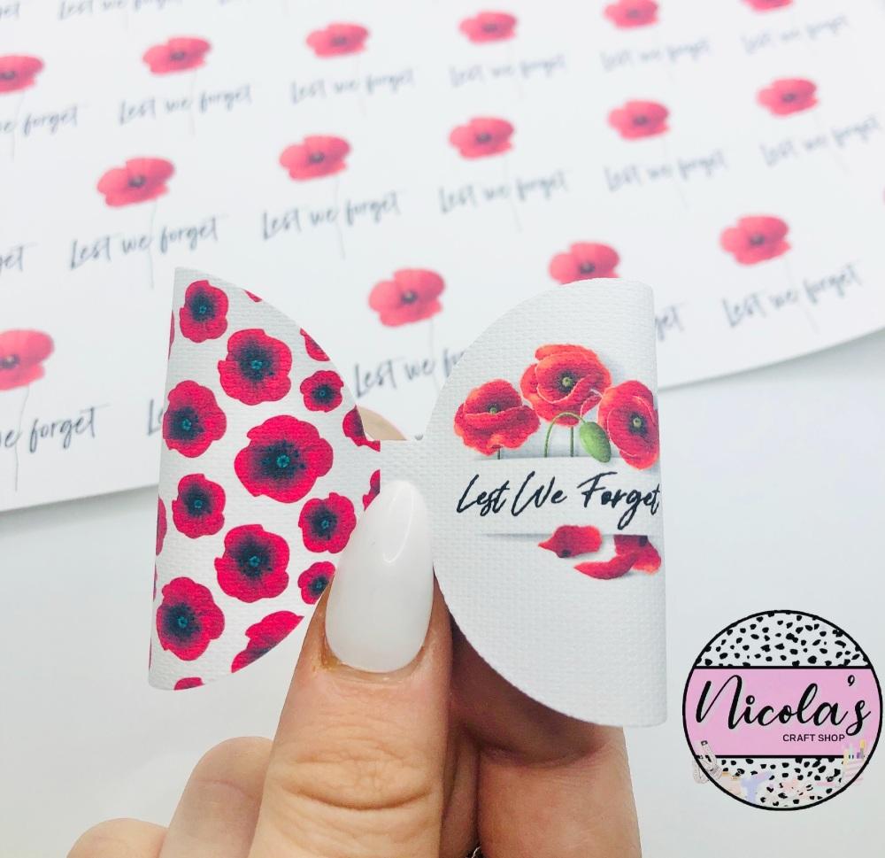 Lest we forget personalised flower pre cut bow loop
