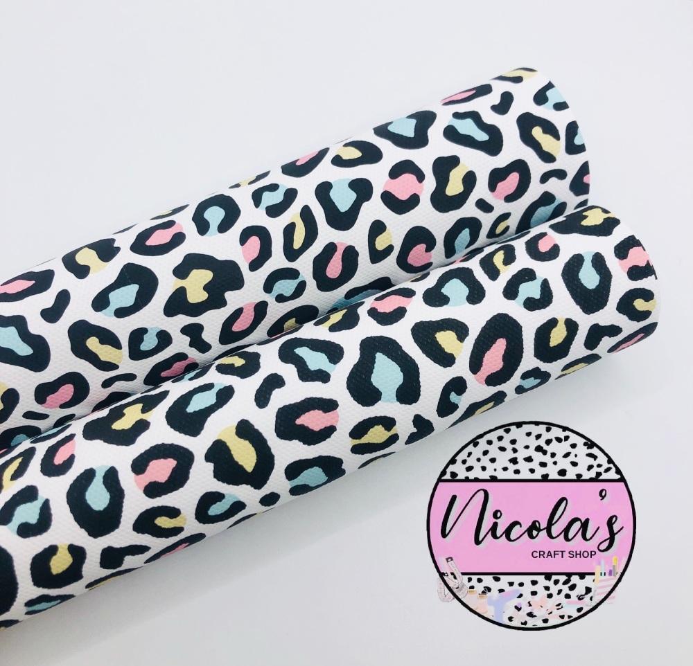 1554 -  Pastel Leopard Print printed canvas fabric sheet