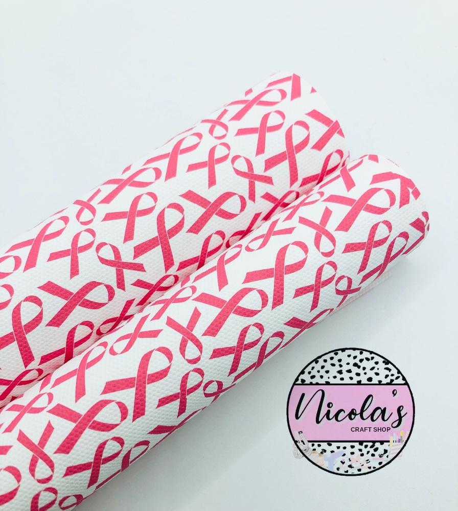 1564 -  Breast cancer Ribbon printed canvas fabric sheet