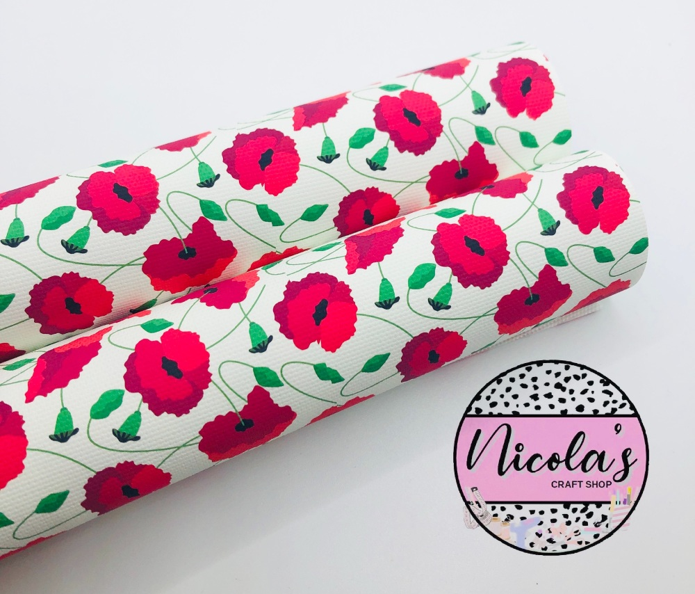 1570 - Poppy Blooming printed canvas fabric sheet
