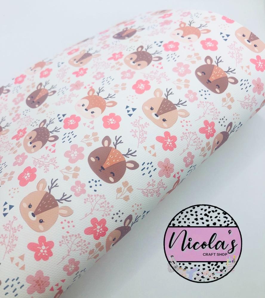 1598 - Pink fox deer clipart print printed canvas fabric sheet