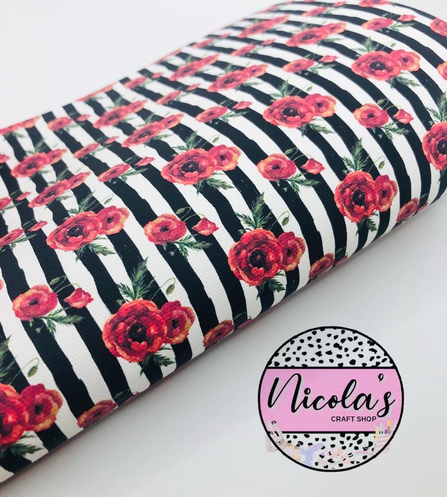1583 - Poppy Stripe printed canvas fabric sheet