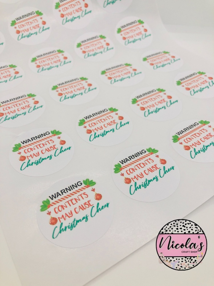 CHRISTMAS WARNING CONTENTS MAY CAUSE CHRISTMAS CHEER STICKERS