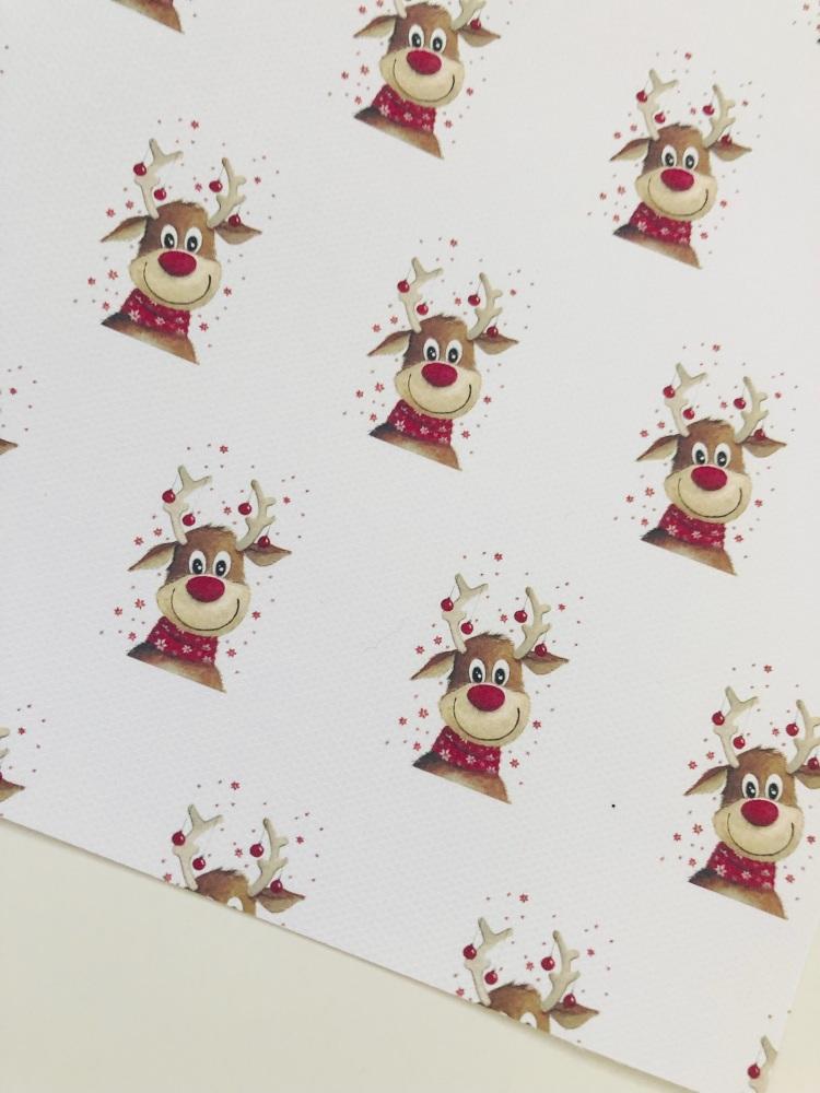 1083 - Red nose reindeer christmas deer Day printed canvas sheet