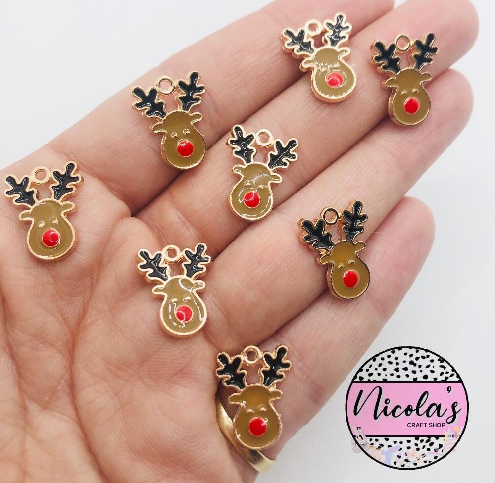 Reindeer  mini golden charm embellishments