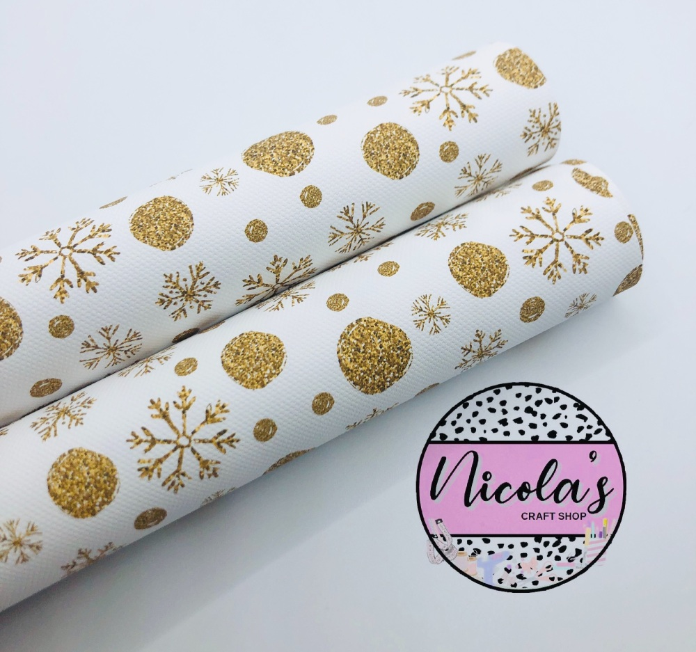 1602 - Golden glitter snowflake printed canvas fabric sheet