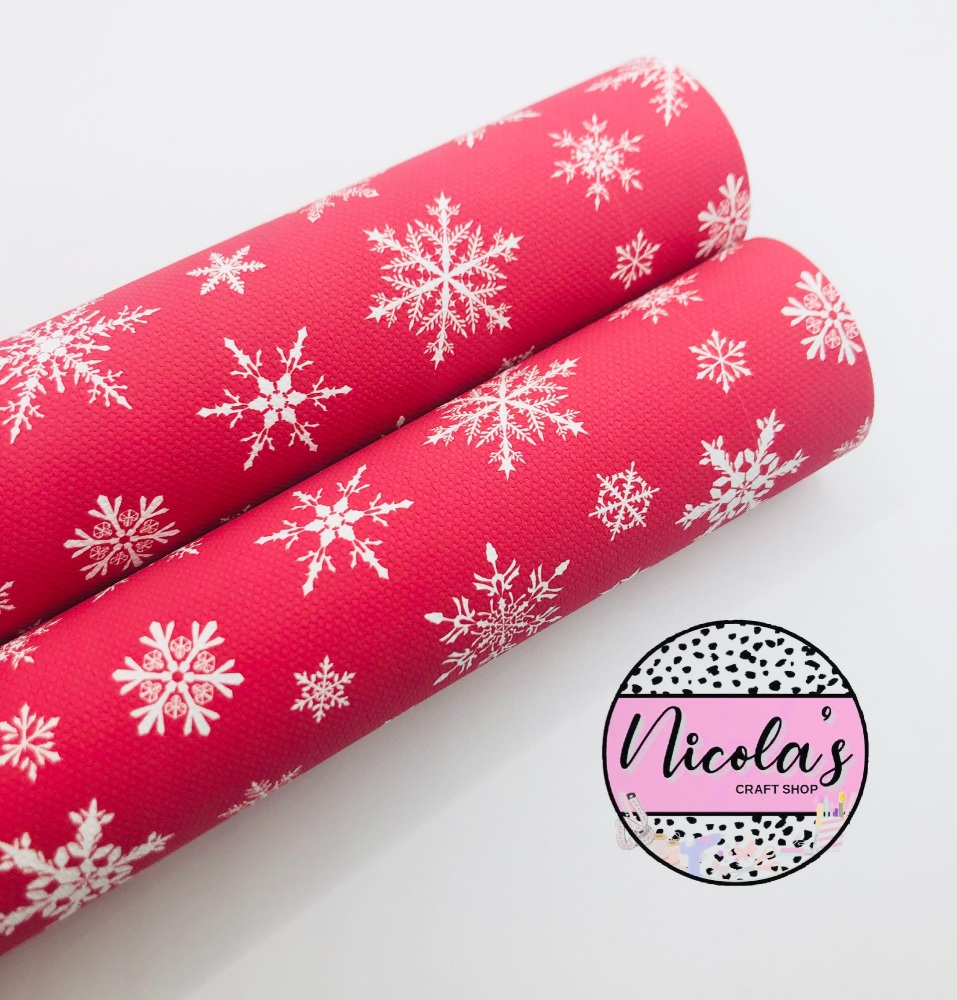 1609 - Red Christmas snowflake printed canvas fabric sheet