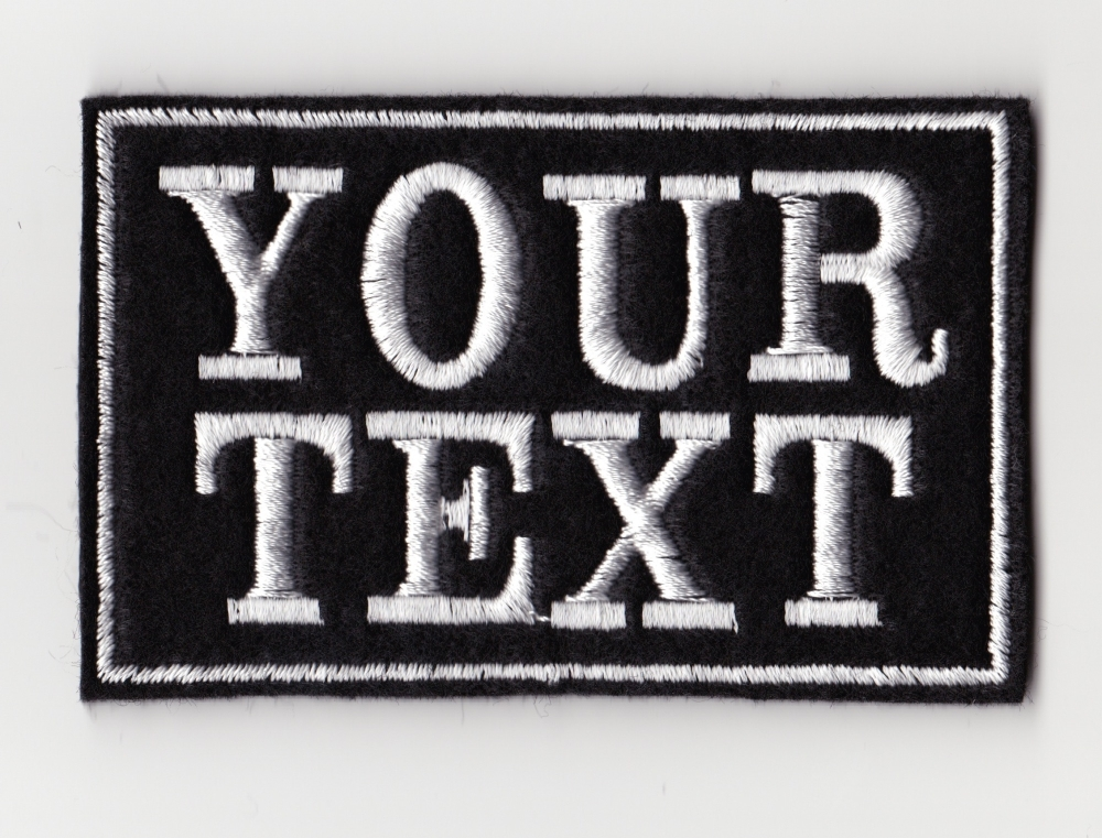 Small 2 Line Custom Personalised Felt Patch - 80mm x 50mm - Standard Font