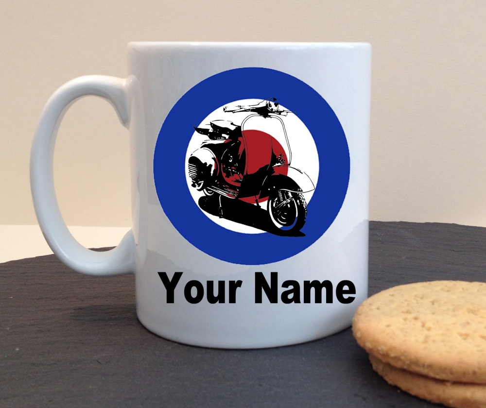 Mod Target Scooter Personalised Mug