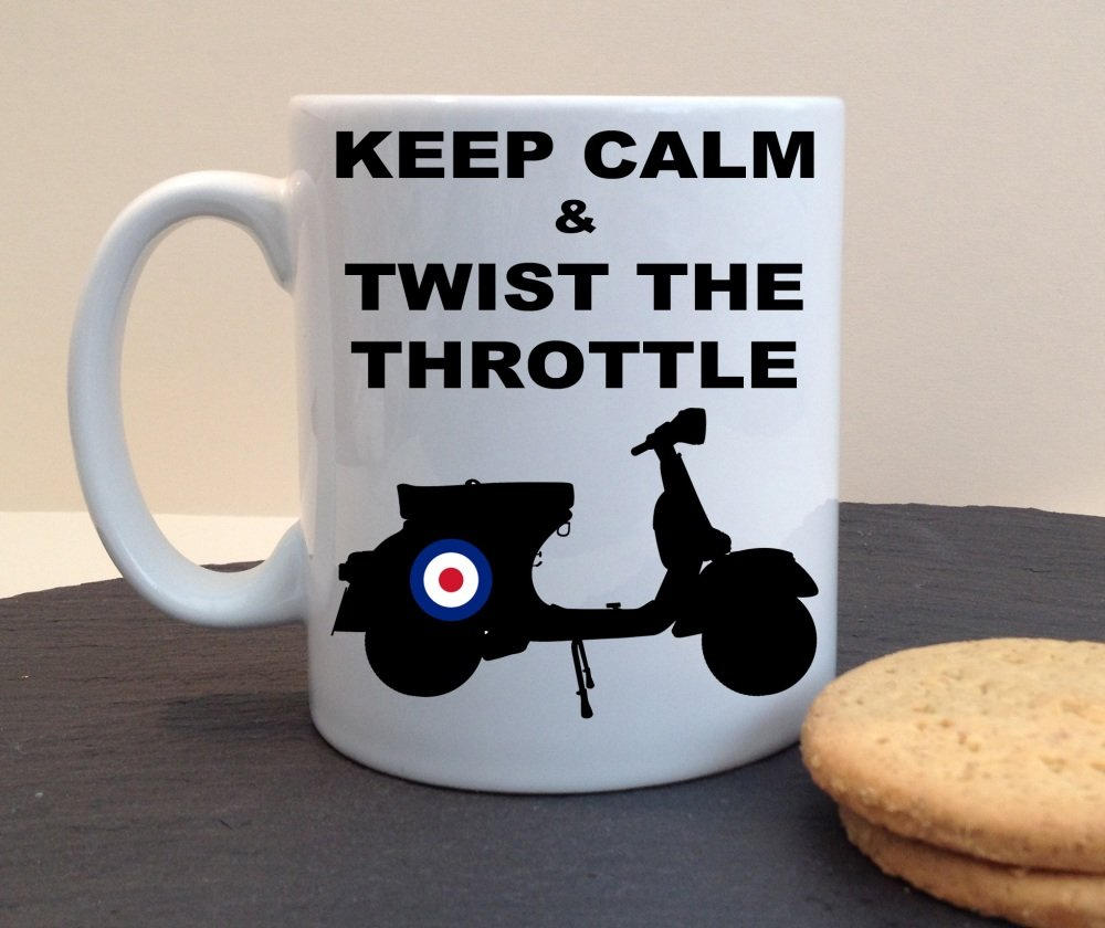 Keep Calm & Twist The Throttle Mod Scooter Personalised Mug