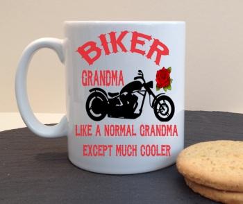 Biker Grandma Personalised Mug