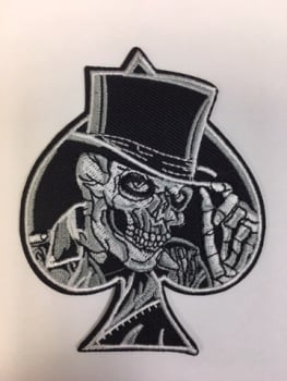 Skull Ace Top Hat Fabric Biker Patch #0113