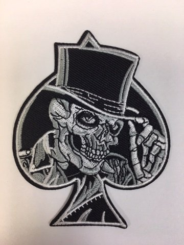 Skull Ace Top Hat Fabric Biker Patch