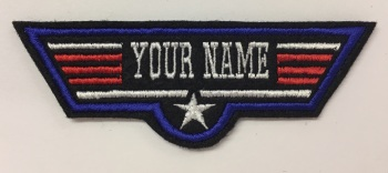 Personalised Top Gun Maverick Style Custom Name Felt Patch Fancy Dress Costume