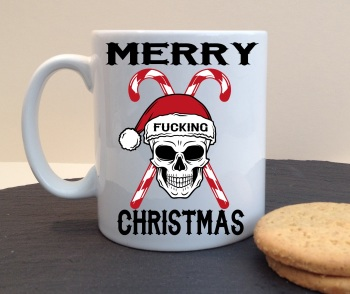 Merry Fucking Christmas Personalised Christmas Skull Mug