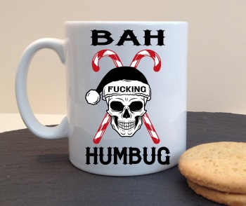 Bah Fucking Humbug Personalised Christmas Skull Mug
