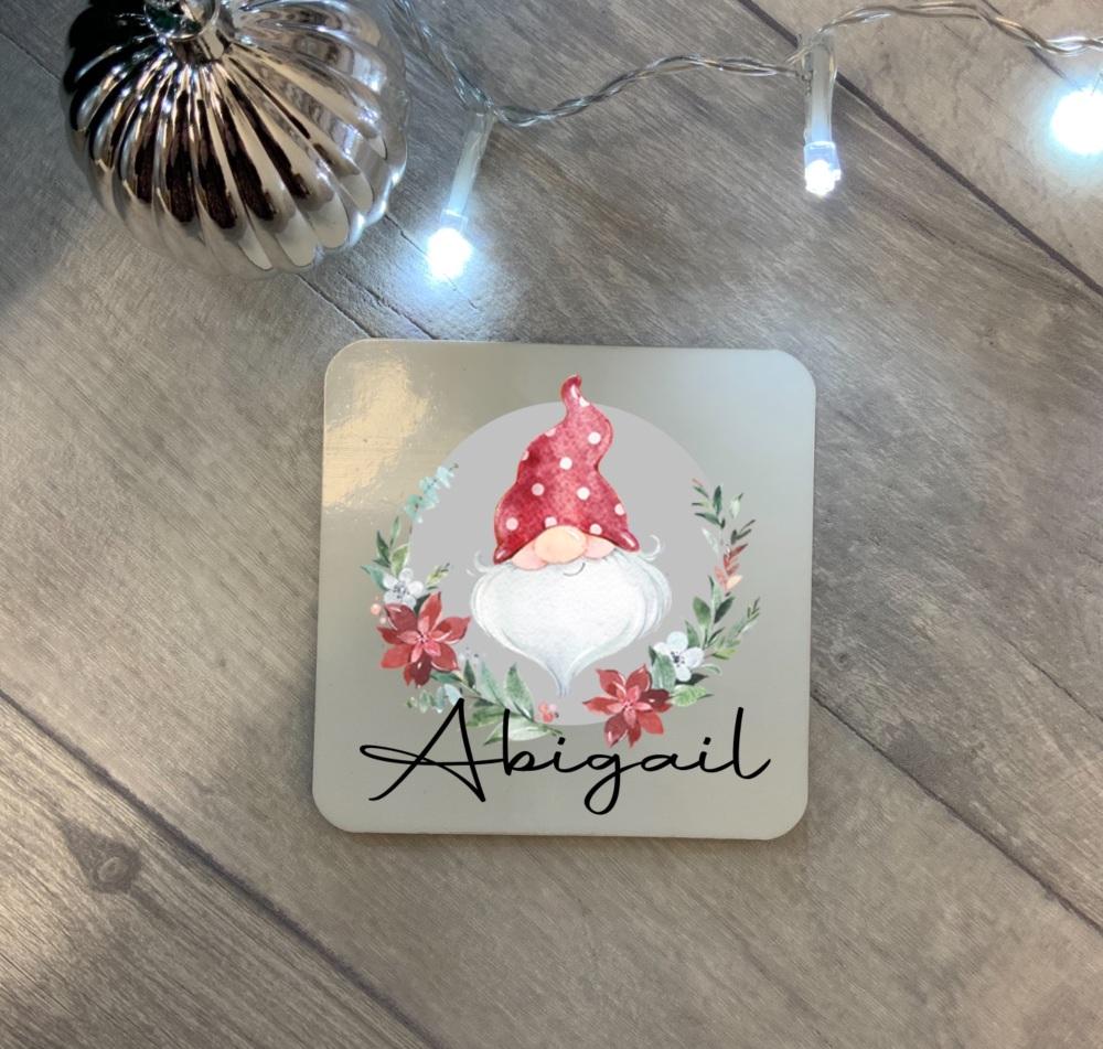 Personalised Christmas Gnome Coaster
