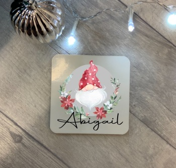Personalised Christmas Gnome Coaster