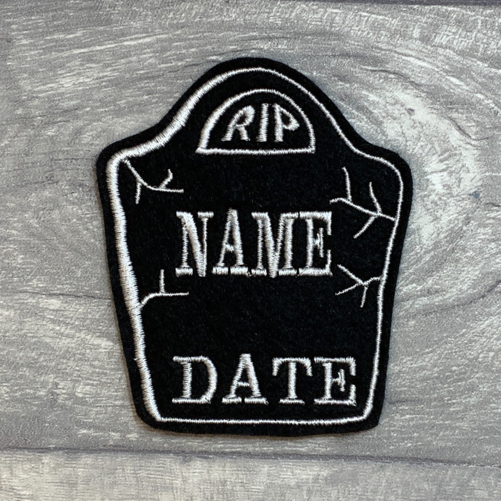 RIP Headstone Memorial Custom Personalised Felt Patch