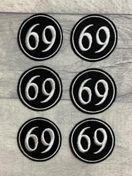 No. 69 - Curve font Felt Embroidered Biker Circle Patch #0004