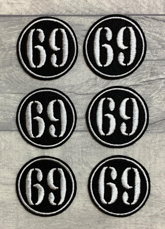 No. 69 - Stencil font Felt Embroidered Biker Circle Patch #0005