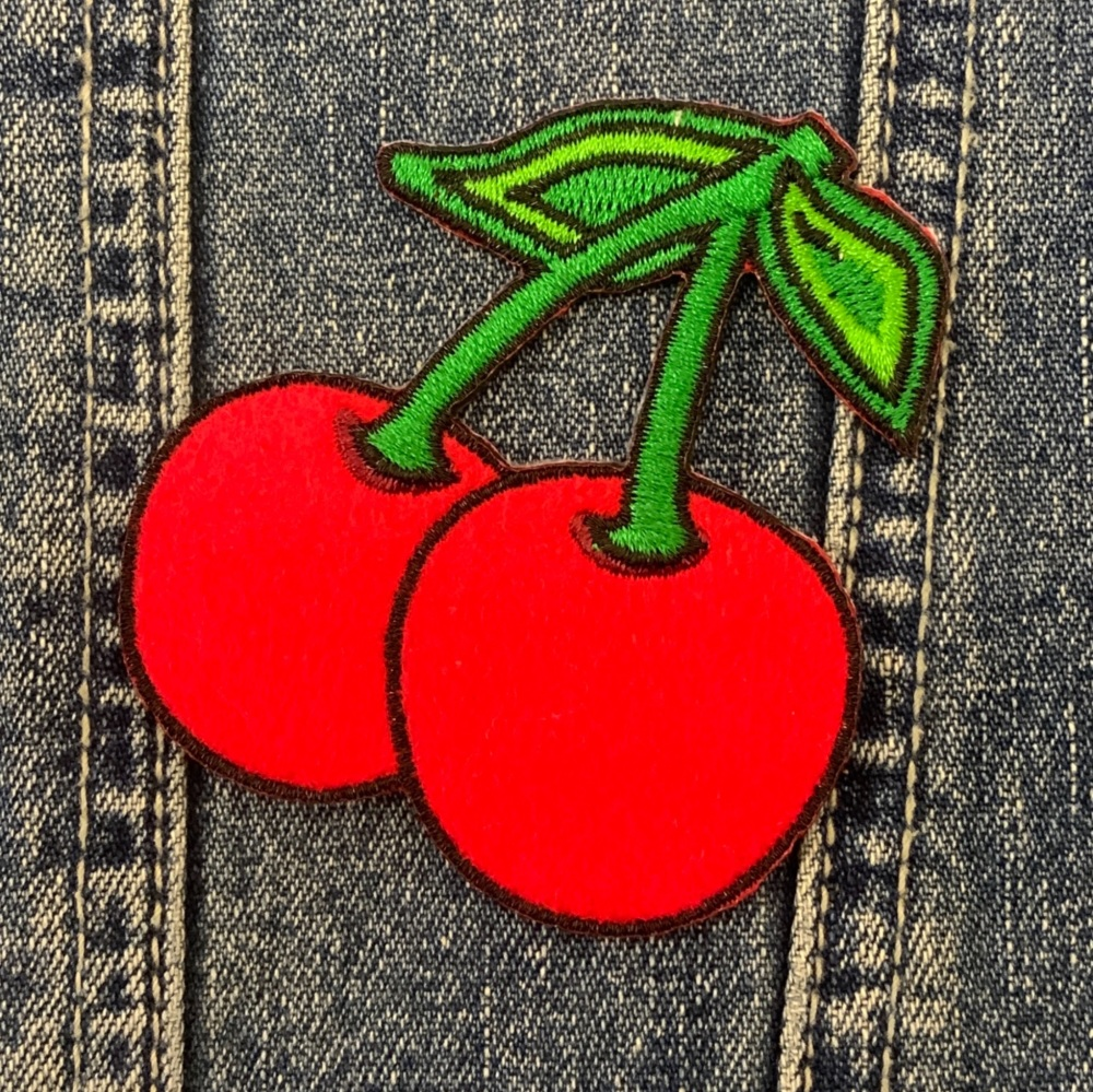 Cherries Fabric Embroidered Patch