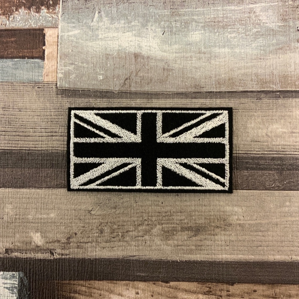 BLACK & WHITE UNION JACK BIKER TRIKER SCOOTER FELT PATCH SEW ON #0081