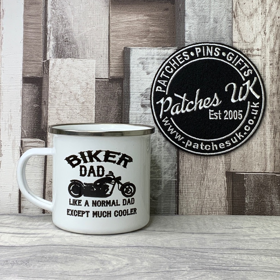 Biker Dad Enamel Personalised Mug